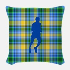 Runners Plaid male blue Woven Throw Pillow