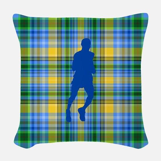 Runners Plaid male blue Woven Throw Pillow