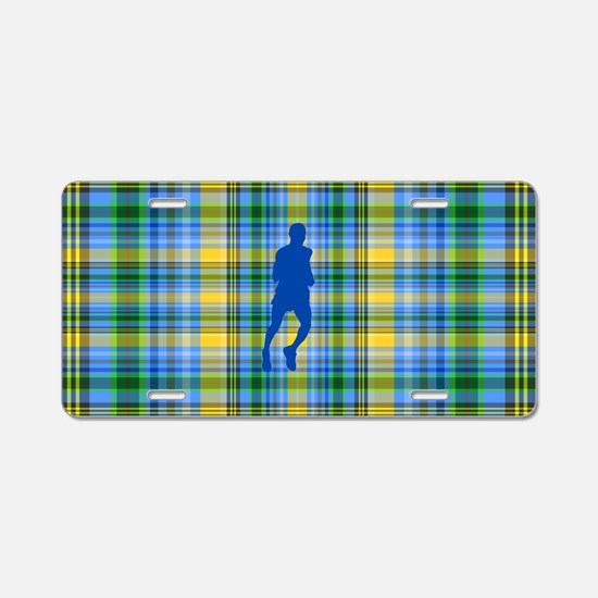 Runners Plaid male blue Aluminum License Plate