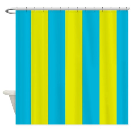 Aqua And Yellow Stripes Shower Curtain By ManchesterandBedding