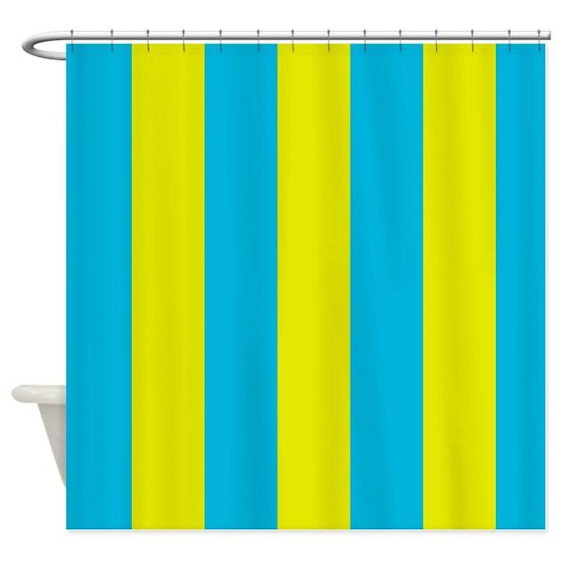 Aqua And Yellow Stripes Shower Curtain By ManchesterandBedding