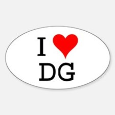 I Love DG Oval Decal