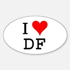 I Love DF Oval Decal