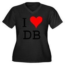I Love DB Women's Plus Size V-Neck Dark T-Shirt