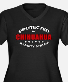Chihuahua Security Women's Plus Size V-Neck Dark T