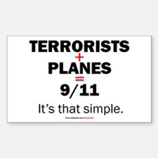 Terrorists+planes=9/11: Rectangle Decal
