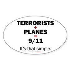 Terrorists+planes=9/11: Oval Decal