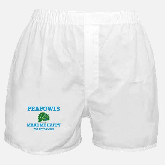 Peafowls Make Me Happy Boxer Shorts