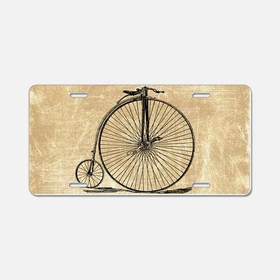 Vintage Penny Farthing Bicycle Aluminum License Pl