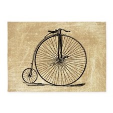 Vintage Penny Farthing Bicycle 5'x7'Area Rug