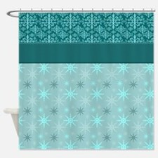 Turquoise Wallpaper Shower Curtain