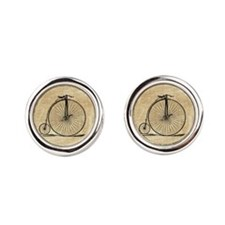 Vintage Penny Farthing Bicycle Round Cufflinks