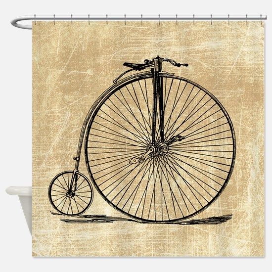 Vintage Penny Farthing Bicycle Shower Curtain