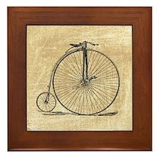 Vintage Penny Farthing Bicycle Framed Tile