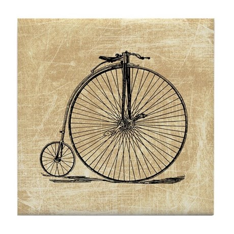 Vintage penny farthing bicycle tile coaster by retroandvintage for Penny coasters