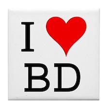 I Love BD Tile Coaster