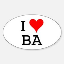 I Love BA Oval Decal
