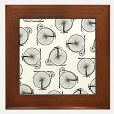 Old Time Bicycle Pattern Framed Tile