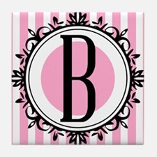Pink B monogram Tile Coaster