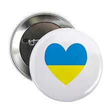 """Ukrainian Flag Heart 2.25"""" Button"""