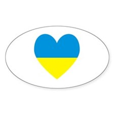 Ukrainian Flag Heart Decal
