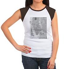 Vintage Map of Manhatta Women's Cap Sleeve T-Shirt