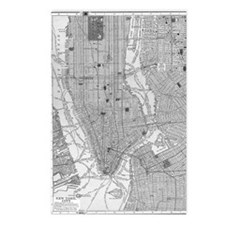 Vintage Map of Manhattan  Postcards (Package of 8)