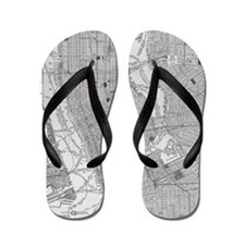 Vintage Map of Manhattan NYC Flip Flops
