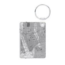 Vintage Map of Manhattan N Keychains