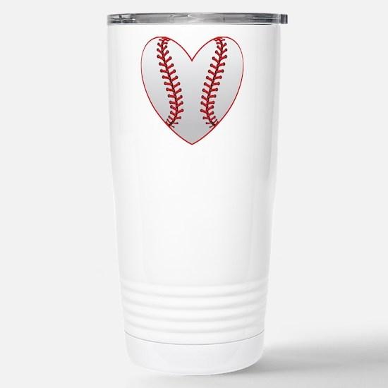 cute Baseball Heart Travel Mug