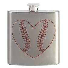 cute Baseball Heart Flask