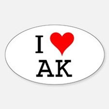 I Love AK Oval Decal