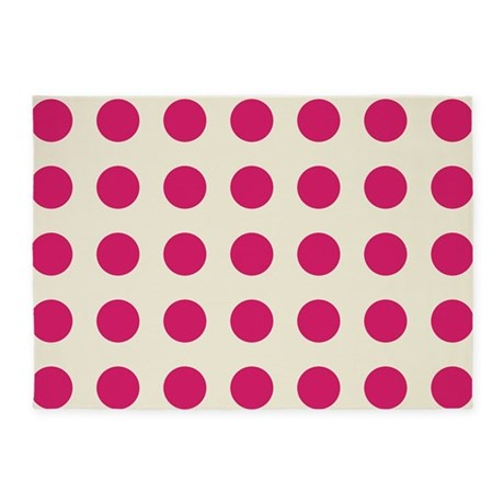 Pink And Cream Polka Dots 5u0027x7u0027Area Rug