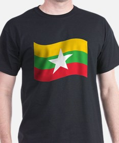 Myanmar / Burma Flag Wave T-Shirt