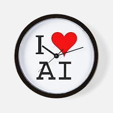 I Love AI Wall Clock