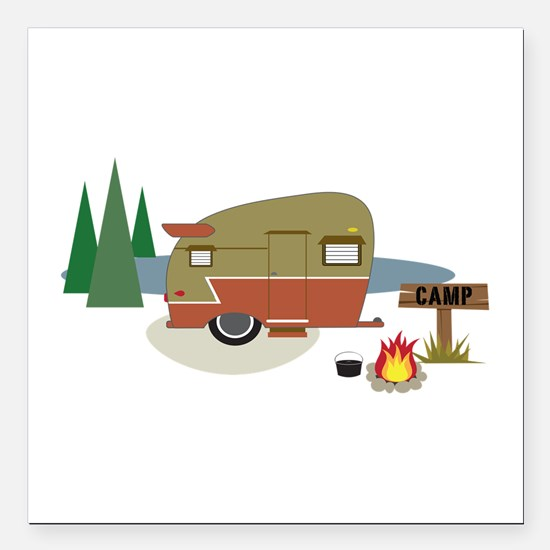 "Camping Trailer Square Car Magnet 3"" x 3"""