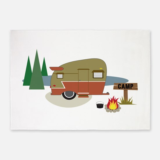 Camping Trailer 5'x7'Area Rug