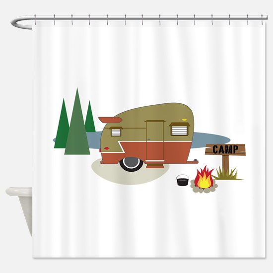 Camping Trailer Shower Curtain
