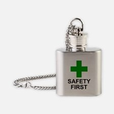 Green Cross - SAFETY FIRST.png Flask Necklace