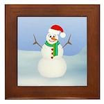 Santa Snowman Framed Tile