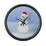 Santa Snowman Large Wall Clock
