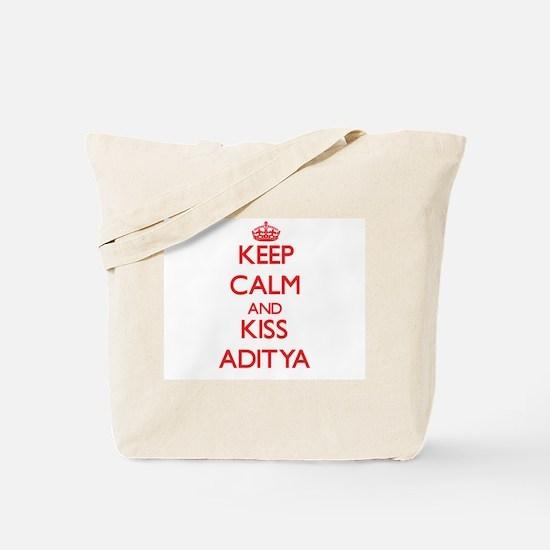 Keep Calm and Kiss Aditya Tote Bag