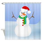Santa Snowman Shower Curtain