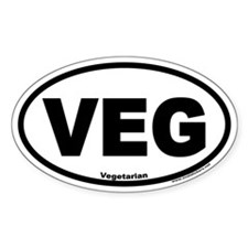 Vegetarian Euro Style Oval Car VEG Decal