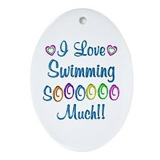 Swimming Love So Much Ornament (Oval)