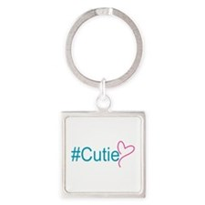 Hashtag Cutie Heart Square Keychain