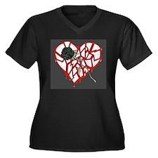 Unique Valantine Women's Plus Size V-Neck Dark T-Shirt