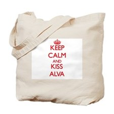 Keep Calm and Kiss Alva Tote Bag