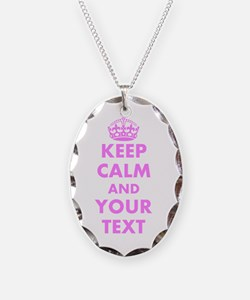 Pink keep calm and carry on Necklace