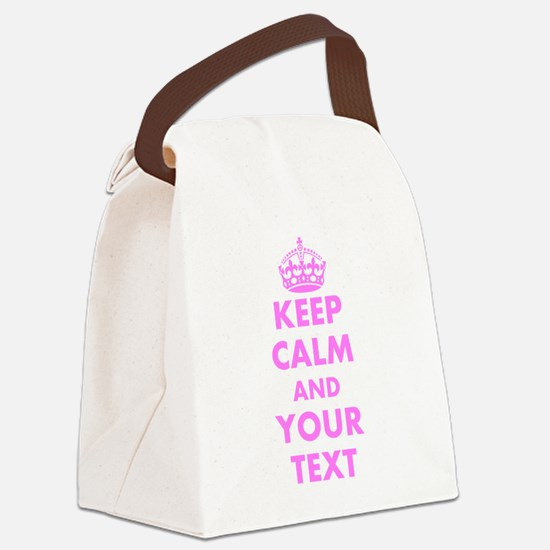Pink keep calm and carry on Canvas Lunch Bag